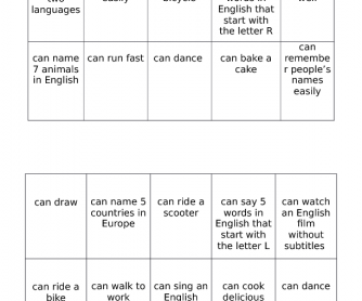 Can/Can't Classmate Bingo Game