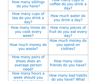 Quantifiers- How Much and How Many? Discussion Cards