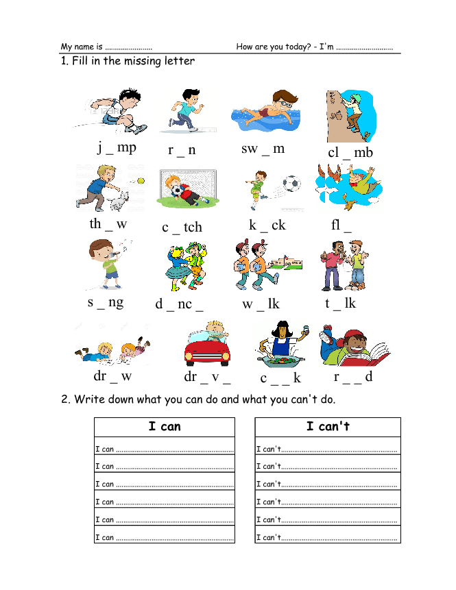 Verbs Worksheets on Blank Worksheets For Kindergarten T
