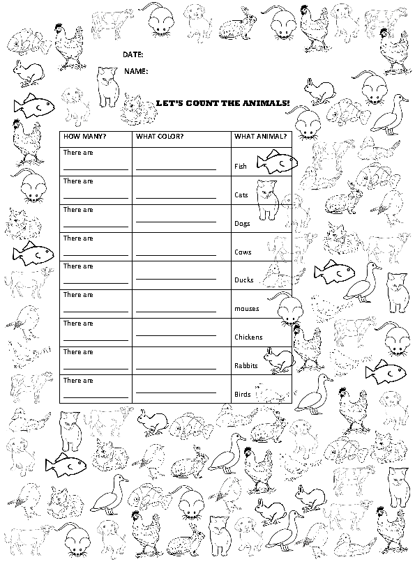 635 free animals worksheets. Black Bedroom Furniture Sets. Home Design Ideas
