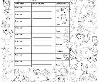 Animals, Numbers, and Colours - Worksheet and Game