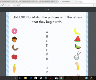 ABCs and Food (Matching)
