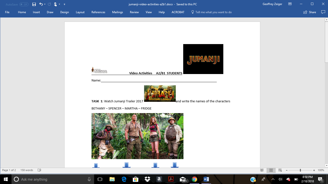 1099 Free Movie Worksheets For Your Esl Classroom Worksheet Kids Computer Games Parts Matching Diagram Jumanji Video Activities