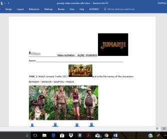 Jumanji Video Activities