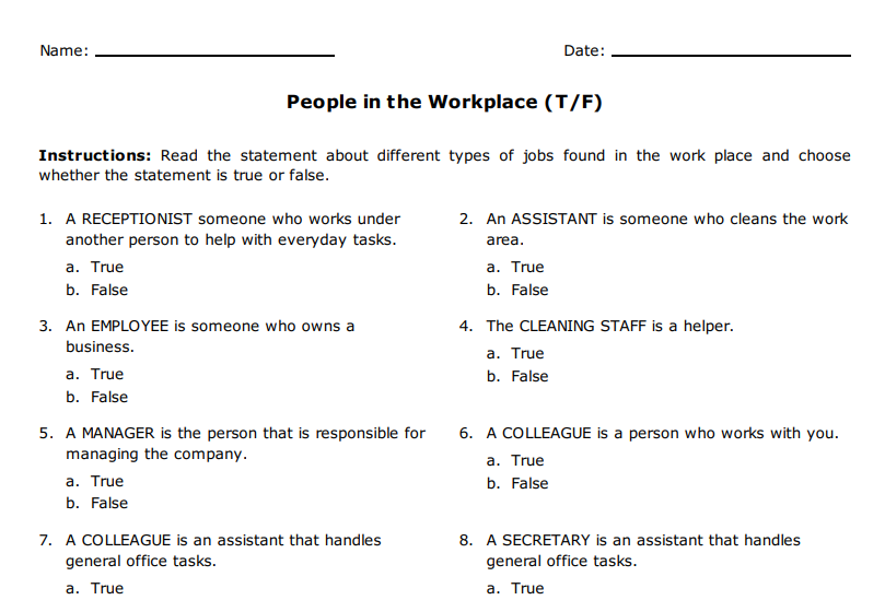 39 free office worksheets