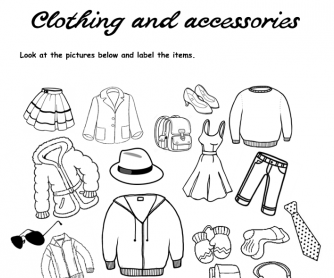 Clothing and Accessories Vocabulary Labeling Worksheet