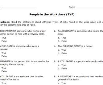 People in the Workplace True/False