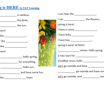 Spring is Here by ELF - A Song Worksheet