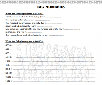 Big Numbers Worksheet