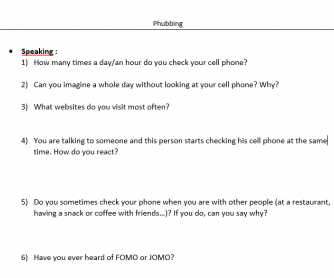 Phubbing or Phone Addiction (Article and Activities)