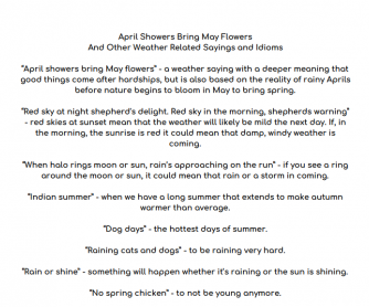 April Showers Bring May Flowers And Other Weather Related Sayings and Idioms
