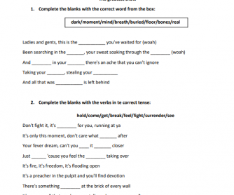 """The Greatest Show"" from The Greatest Showman Song Worksheet"