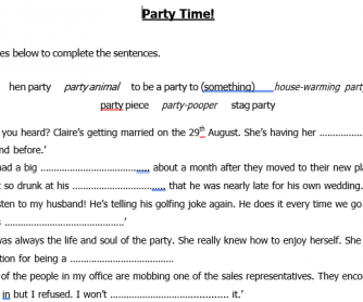 Party Time! Idioms Fill in the Blank