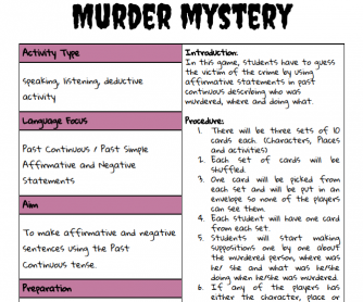 Mystery Murder (Past Continuous)