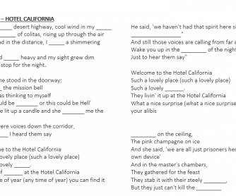 Eagles - Hotel California Lyric and Song Theory