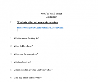 The Wolf of Wall Street Scene Worksheet