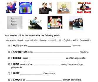 My Classroom Behavior - A Modals Worksheet