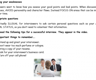 Job Interview Dos and Don'ts Video Activity