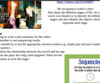 A Single Life - Tell a Story with Sequencing Words