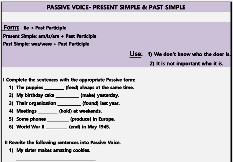 11239 free grammar worksheets passive voice present simple past simple exercises ibookread Read Online