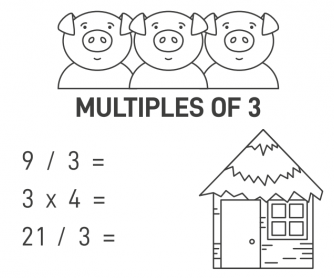 The Three Little Pigs - Multiples of 3 Worksheet