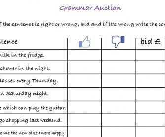 Grammar Auction - A2 level
