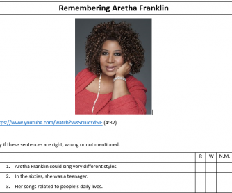 Remembering Aretha Franklin - Video and Worksheet
