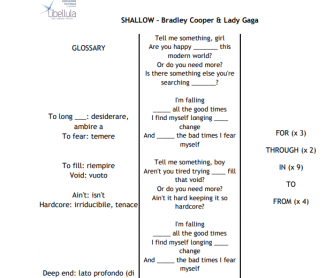 Shallow By Bradley Cooper And Lady Gaga - Prepositions Lyrics Worksheet