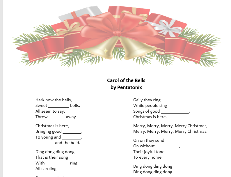 picture regarding Printable Christmas Song Lyrics identified as 357 Totally free Xmas Worksheets, Coloring Sheets, Printables