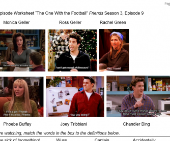 """Friends"" Season 3 Episode 9 Thanksgiving TV Episode Worksheet (The One With The Football)"
