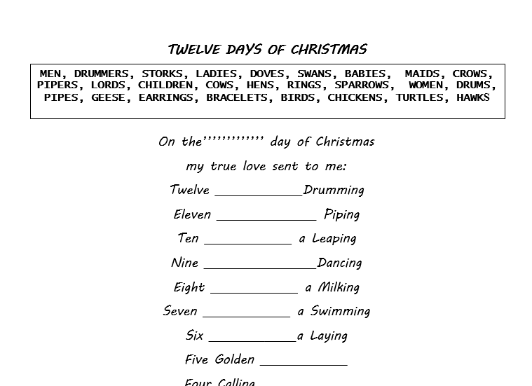 image relating to 12 Days of Christmas Lyrics Printable called 12 Times Of Xmas Lyrics United kingdom