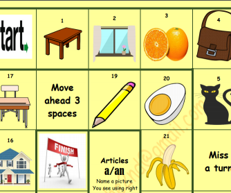 Board Game: Indefinite Articles for Beginners