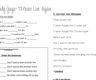Lady Gaga - I'll Never Love Again Song Worksheet