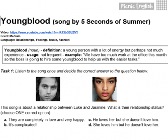 Song Worksheet: Youngblood by 5 Seconds of Summer