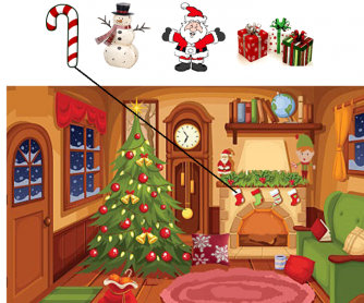 Christmas Prepositions - Listen And Draw Lines