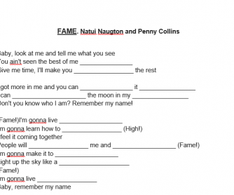 Song Worksheet: Fame by Naturi Naughton & Collins Pennie