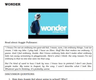 Wonder (Film) Worksheet