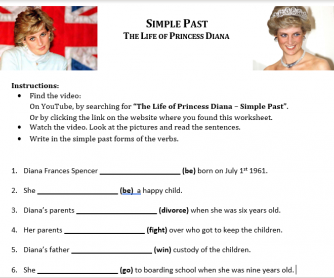 Simple Past Video Activity - The Life of Princess Diana