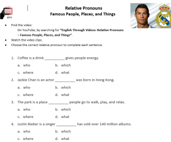 Relative Pronouns Video Activity (who / which / where / that)