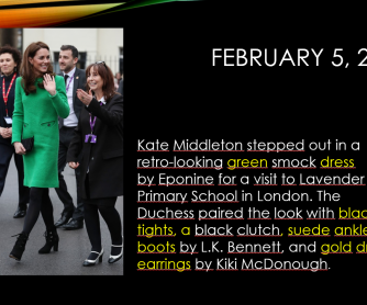 Kate Middleton's Greatest Style Moments Descriptions Activity