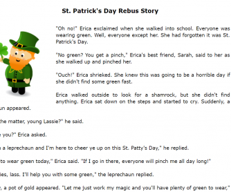 St. Patrick's Day Rebus Story