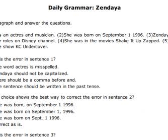 Daily Grammar: Zendaya