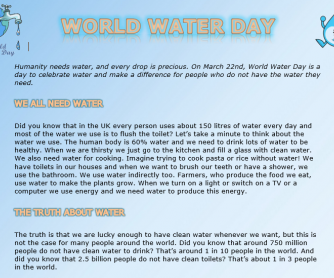 World Water Day Reading Exercises