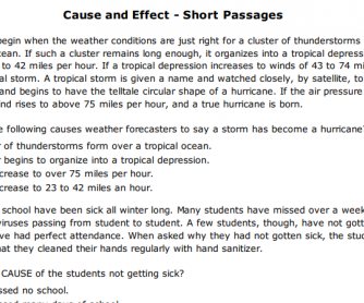 Cause and Effect - Short Passages Worksheet