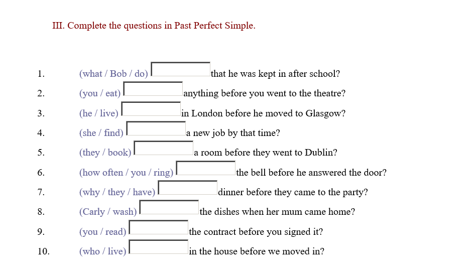 113 FREE Past Perfect Worksheets