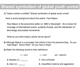 Shared Symbolism of Global Youth Unrest Article and Worksheet