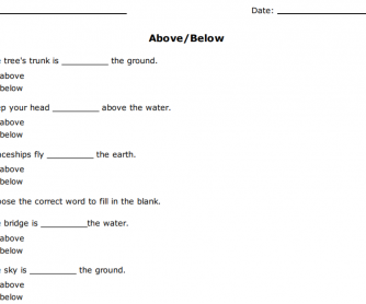 Above/Below Prepositions Worksheet