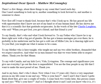 Inspirational Oscar Speech – Matthew McConaughey