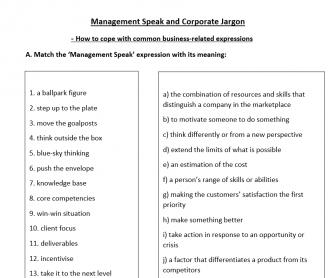 Management Speak and Corporate Jargon Worksheet