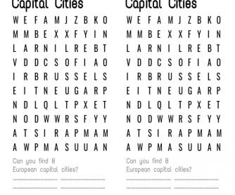 Word Search Fun - Capital Cities in Europe